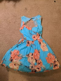 Blue Floral Mini Cupcake Dress with belt