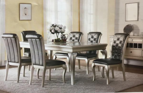 Brand New 7PC Silver Dining Room Set !