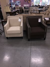 two brown leather sofa chairs Raleigh, 27610