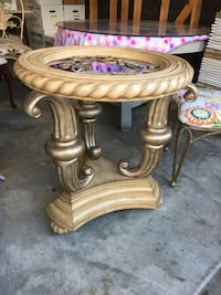Round wooden pedestal table wit glass top and 6 chairs Cypress, 77429
