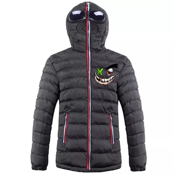 black and gray zip-up bubble jacket