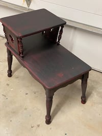 Black and red telephone table side table nightstand end table