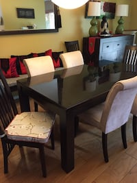 Rectangular brown wooden table with six chairs dining set Carlsbad