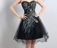 Black lace dress with peacock design New York, 10018