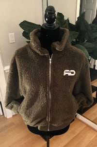 Olive Green Sherpa Slouchy Zip-Up Fleece Jacket Alexandria, 22309