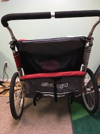 black and red Chariot stroller