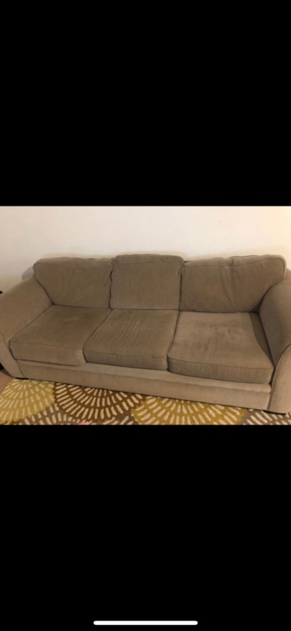 Tan brown fabric 3-seat sofa 0