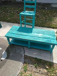aquamarine wooden chair and rectangular side table Gainesville, 32609