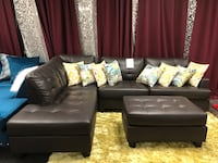Bonded leather sectional with ottoman. Brand new.  Addison, 75001