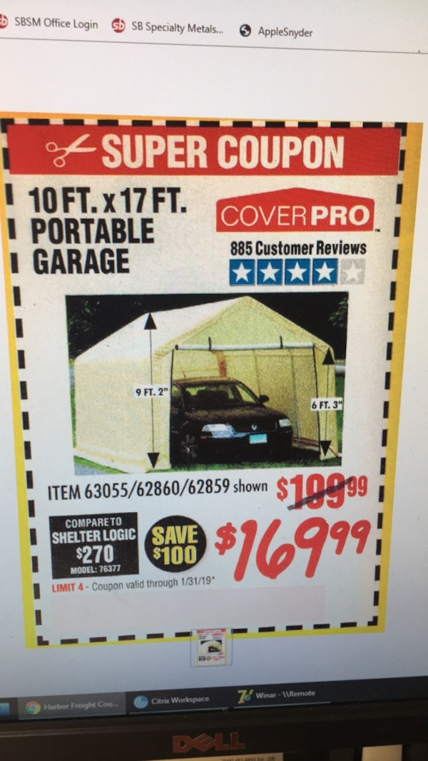 Used Harbor Freight 10x17 Portable Garage Tarps for sale ...