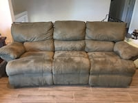 Matching sofa and love seat, olive green, microfiber, reclining. 910 mi