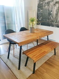 set de table a dinner en Bois banc et 2 chaise com
