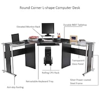 "HOMCOM 69"" Modern Symmetrical Corner L-Shaped Smoked Glass Top Computer Desk Bristow"