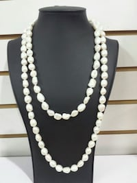 white pearl beaded necklace and earrings 922 mi