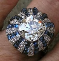 NOT your Wal-mart store brand  Women's/men's white/blue sapphire silver cocktail ring size 8/9 Louisville, 40203