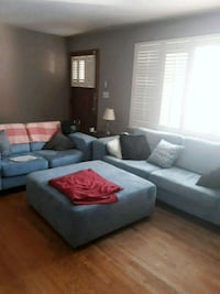 Light blue sofa, love seat and ottoman. Microfibe Catonsville, 21228