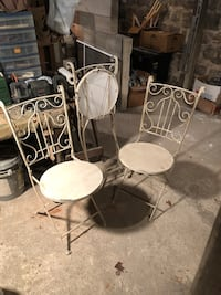 Folding chairs. 3 metal chairs with wooden seats. Very sturdy. $40. Bloomingburg, 12721