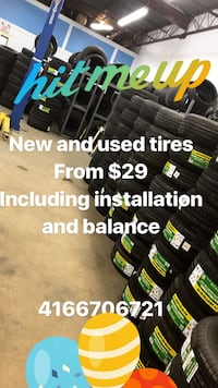 New and used tires from $29 incl installation  Vaughan, L4L 3T4