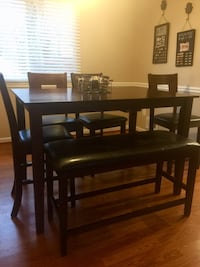 rectangular brown wooden table with four chairs dining set Olney, 20832