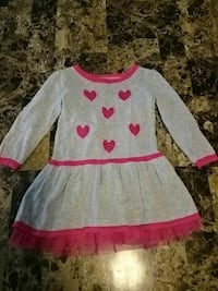 toddler's gray and pink boat-neck dress