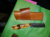 white steel knife with brown leather sheath Richardson, 75081