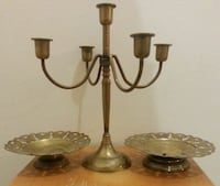 Old Brass Candelabra & 2 Butterflies Dishes  Mississauga, L5N 2X2