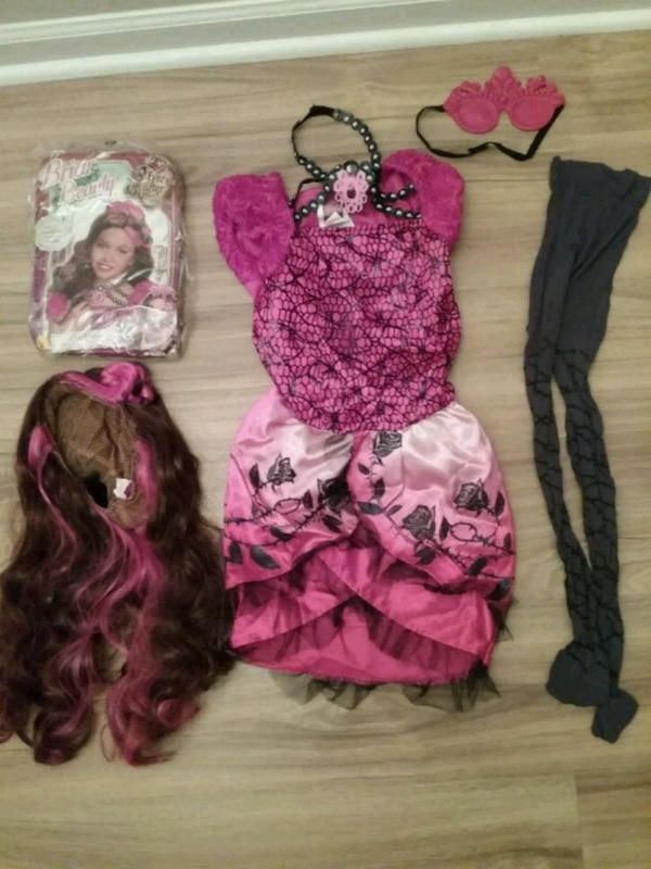 Girls 7/8 Ever After high Briar Beauty costume/wig