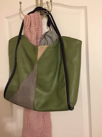 green, gray, and black  tote bag
