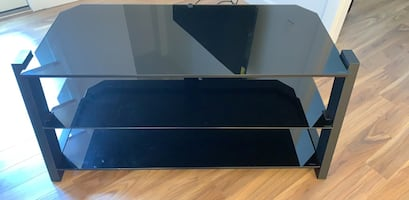 Black television stand w/ tempered glass