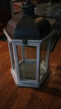 brown and white steel lantern