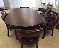 HOME / OFFICE  CONFERENCE TABLE & 6 ROLLING CHAIRS, RED LEATHER Woodbridge, 22193