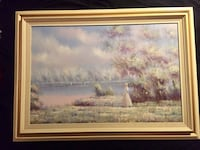Large oil painting by Du Bois of woman at the river Torrance, 90505