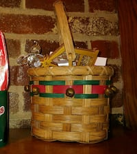 Christmas Wicker Basket w/ Assorted Ornaments