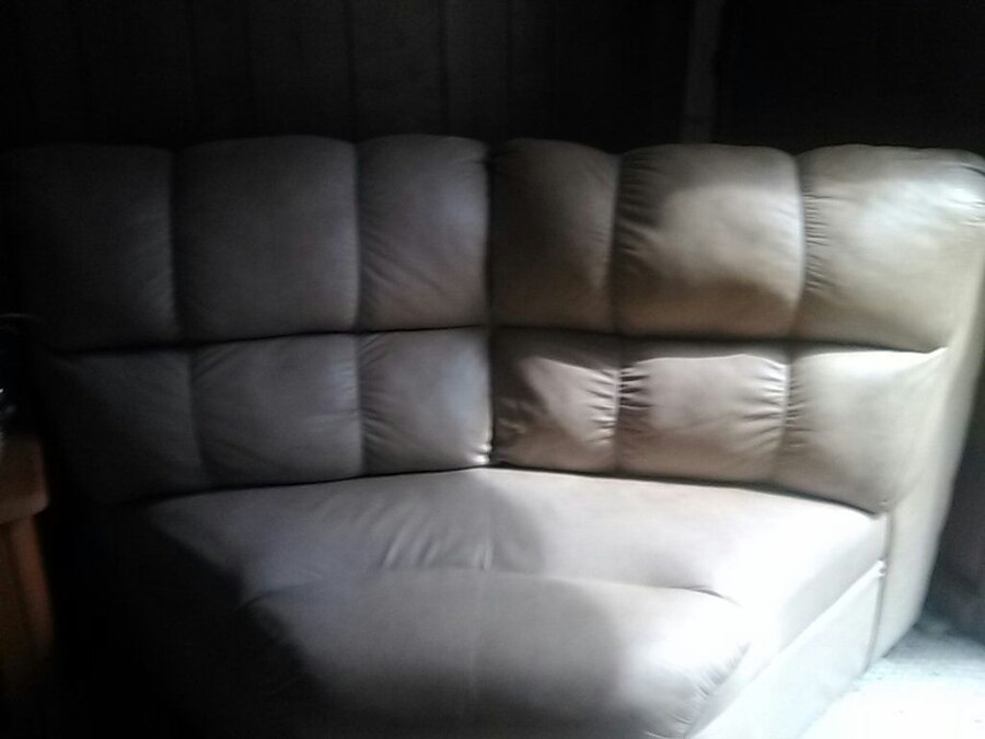 Letgo Gray Leather Cuddler Chair In Staten Island Ny