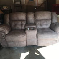 Like new! Suede double recliner sofa with console $425 or BO Youngstown, 44511