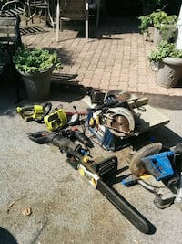 black and gray miter saw, among other tools. Hamilton, L9C 7N4