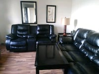 black leather padded sectional sofa Charter Township of Clinton, 48035