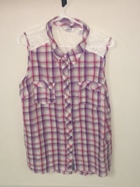 girl's gray, red, and purple plaid button-up sleeveless top Regina, S4R