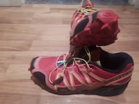 pair of red-and-black Nike basketball shoes 3742 km