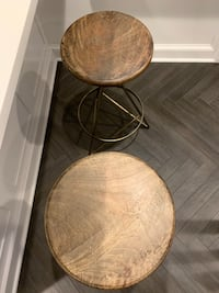 A Pair of Arteriors Wyndham Counter Stools, Antiqued Brass Washington, 20015
