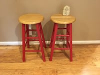 """BARSTOOLS (RED/MAPLE) 24"""" Spring, 77388"""