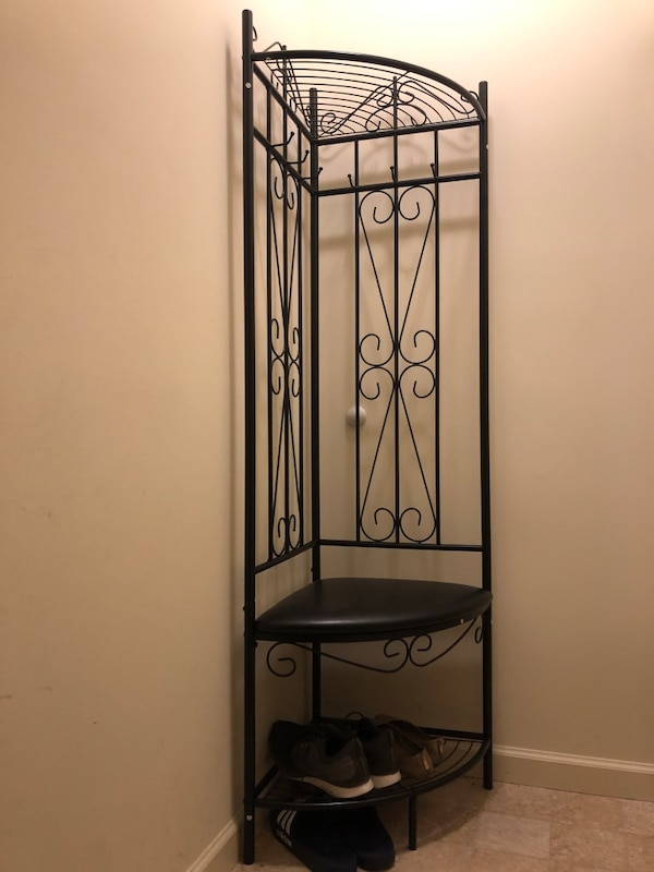 Prime Black Metal Corner Entryway Shoe Rack With Black Bonded Leather Bench 6 Hooks Caraccident5 Cool Chair Designs And Ideas Caraccident5Info
