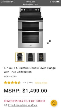 Whirlpool double oven electric