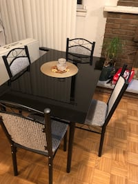 black metal framed glass top table with chairs set Toronto, M1W 2S5