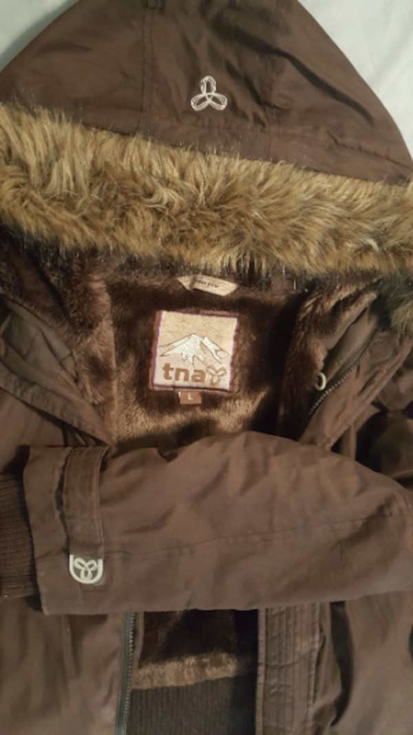 TNA L brown short winter coat