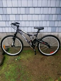 black and red full suspension mountain bike Victoria