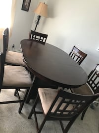 Oval brown wooden table with six chairs dining set Bay Shore, 11706