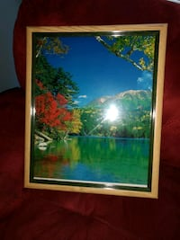 brown wooden framed painting of river Jackson, 08527