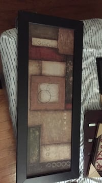 Cubism abstract painting with black wooden frame