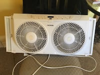 Noma Dual Window Fan with Thermostat and Remote  Excellent  condition 1312 km